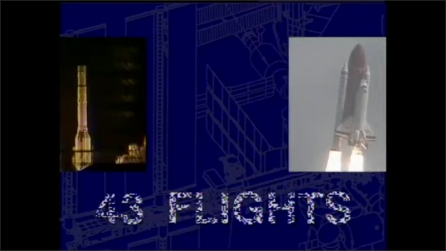 """2000s: Space shuttle blasts off into space. Special Announcement titles and blueprint plans. Intertitle of """"43 Flights"""" over the blueprint with images of a rocket and space shuttle."""