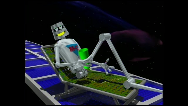 2000s: Animated extension cord reaches to the space station. Red X appears. Robot M-C narrates from a lounge chair with a drink. Solar energy explodes from the sun. Solar arrays on the space station.