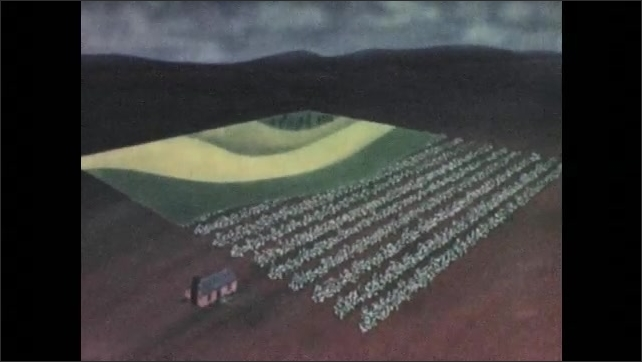 1940s: UNITED STATES: animation of field rotation.