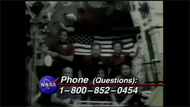 """1990s: Montage of scientists and astronauts in space performing experiments. NASA logo and Title: """"Phone (Questions?): 1-800-852-0454."""