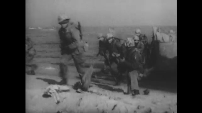 1950s: Soldiers marching. High angle view of jet. Soldiers run off of boat. Jets flying.