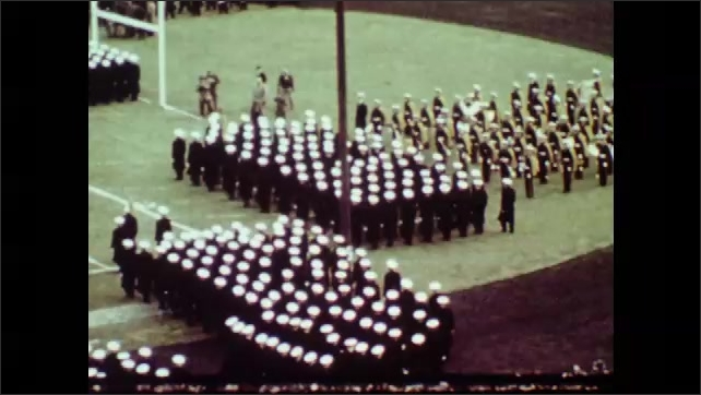 1970s: UNITED STATES: military medics attend party. American football game on pitch.