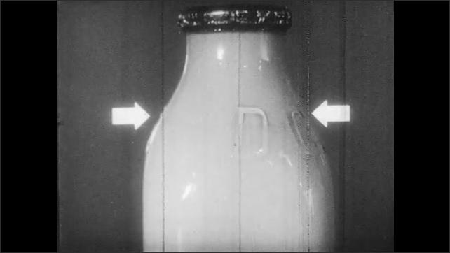 1950s: Pasteurizing machine. Bottle of milk with cream layer on top. Bottle of homogenized milk.