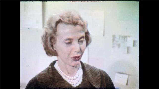 1960s: Woman looks dejected. Woman stands near bulletin board and speaks.