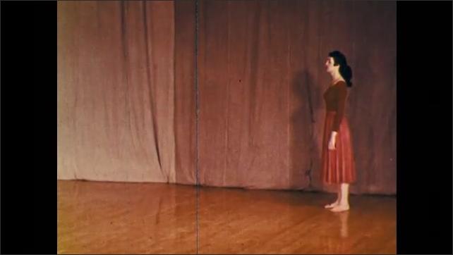 1960s: dancer leaping across studio, dancer skipping across studio, dancer kicking across studio, dancer flourishing his leap across studio