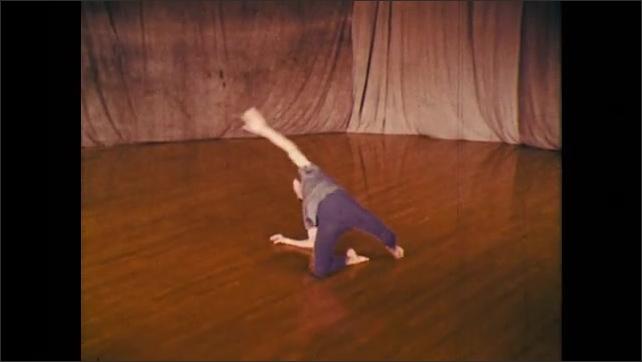 1960s: dancer performing a fall technique into various floor techniques