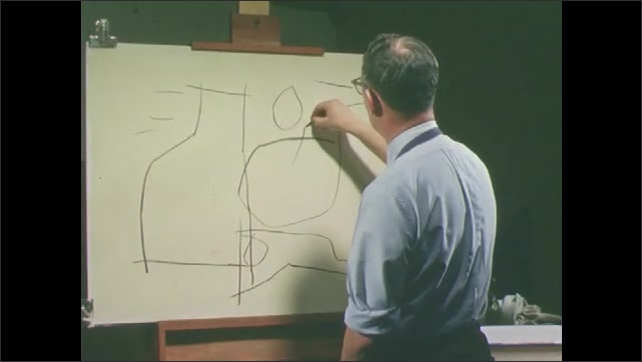 1950s: Man stands at easel, draws. Still life on table.