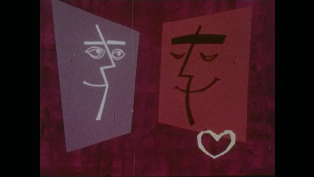 Cartoon image of two faces talking to eachother/ Heart in corner beating/ Another face begins talking