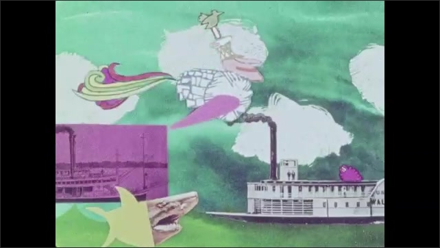 1970s: Stylized animation. A mailman flies over riverboats in a biplane. He turns into a flying mailbag and flies to the post office where he sorts the mail.
