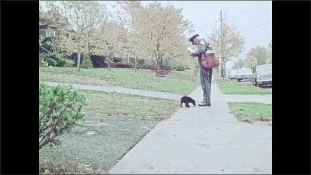 1970s: A little black puppy plays. He chases a mailman down the sidewalk, barking.