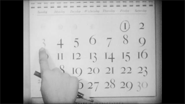1950s: Man and boy talk before wall calendar. Finger points to date on calendar. Finger runs along weeks on calendar. Hand uses pencil to circle date on calendar.