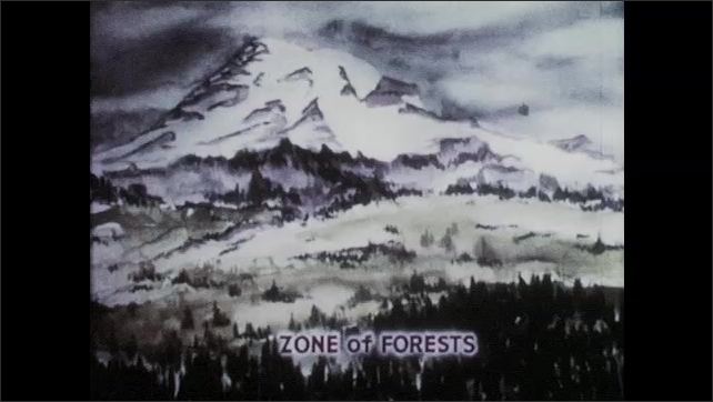 """1950s: Trees in front of mountain.  Illustration is labelled """"ZONE of FORESTS.""""  Another picture is labelled """"ZONE of MEADOWS."""""""