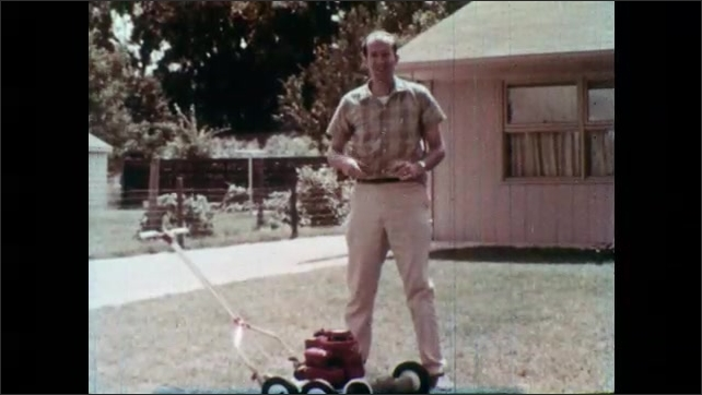 1960s: Man behind power mower, mouth agape, walks in front of mower. Man picks up metal coat hanger. Man holds coat hanger and nods. Old woman in rocking chair. Man walks away from mower and back.