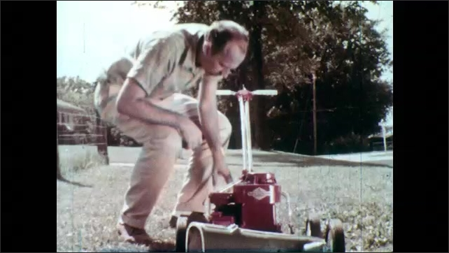 1960s: Man drops shoe behind lawn mower and pulls mower over shoe. Man with thoughtful expression. Man retrieves shoe from under mower and looks surprised. Man holds shoe with torn front.