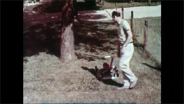 1960s: Man removes stick from discharge chute of lawn mower. Man looks at stick shocked. Stick disappears. Man resumes mowing. Pile of gravel appears on lawn, man runs over with mower.