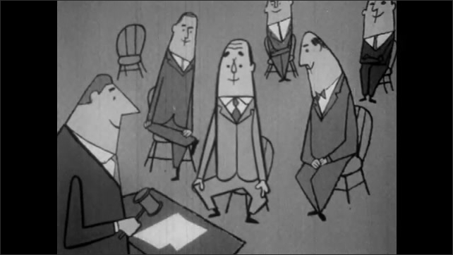 1950s: Sad woman at meeting whose motion has been postponed indefinitely. Man smiles and shrugs when his motion is laid on the table. Robert points and explains.