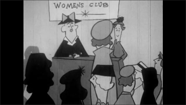 1950s: Meeting  silhouette with Chairmen and discussion. Debate at Women's Club meeting. High School Meeting with Chairmen decisions based on the rules of order.
