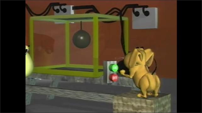 1990s: Aurora borealis. Animated cartoon of dog and man creating aurora in laboratory.