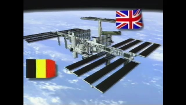 2000s:?? Animation of ISS lab building up. Scientist at computer. Astronauts inside space lab float. Flags of BEL, UK, SWE, SPA, NOR, FRA, RUS, JPN,?? DEU, ITA, CAN, BRA, NLD, DNK, CHE and USA.??