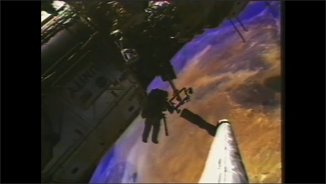 2000s:??Computer animation of ISS being assembled., Components from the European, Russian, Japanese and Canadian Space Agency are shown.??
