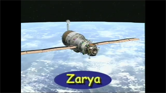 2000s:??Computer animation of Russian model spaceship named Zarya, the core power and brains of ISS.??