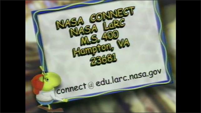 2000s: NASA Connect contact info and address: NASA LaRC, M.S. 400, Hampton, VA 23681. Email: connect@edu.larc.nasa.gov. Cartoon figure shows websites at connect.larc.nasa.gov andcore.nasa.gov