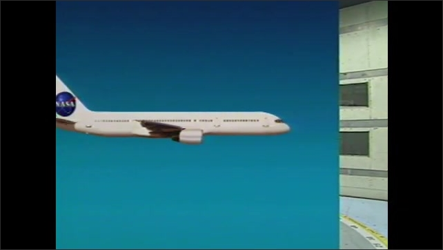 1990s: Model plane in wind tunnel. Animation of forces on plane during flight.