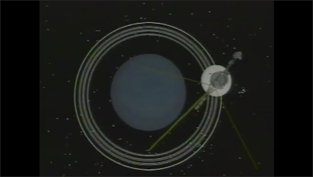 2000s: UNITED STATES: rocket takes off. Satellite launch. Voyager 1 in solar system animation