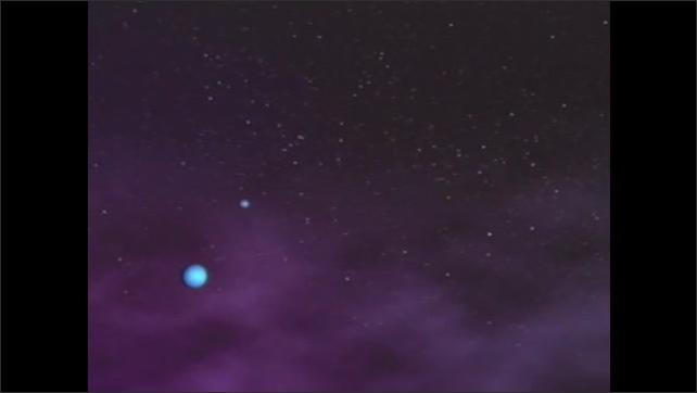 2000s: UNITED STATES: animation of solar system. Stars in solar system. Planets in solar system