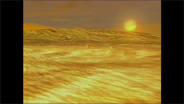 2000s: UNITED STATES: terrestrial planet crosses planet. Venus animation.