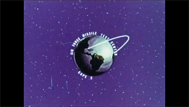"1960s: Animated planet Earth spins in space.  Space shuttle orbits Earth.  Text reads ""AIR FORCE MISSILE TEST CENTER.  CAPE CANAVERAL."""