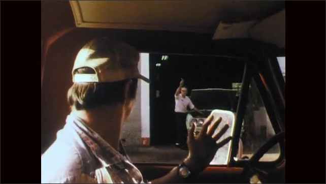 1970s: Man pumps gas into truck at rural station. Small town and church. Man waves to man from car. Truck drives by oxidation pond and man kneeling. Man kneels by pond and writes in notebook.
