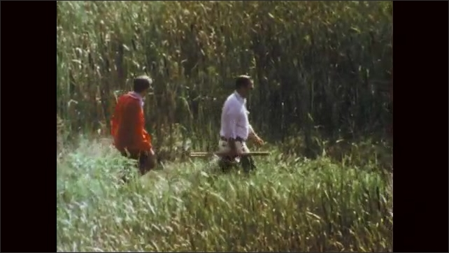1970s: Man looks at pond through binoculars. Man lowers binoculars and looks into distance. Men walk through tall grass and cat tails of wetlands.