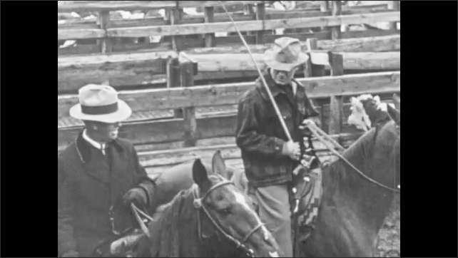 1950s: Butcher weighs meat while woman watches.  Men ride horses in cattle yard.  Men sit and work at conference table.  Man sits.  Woman types.