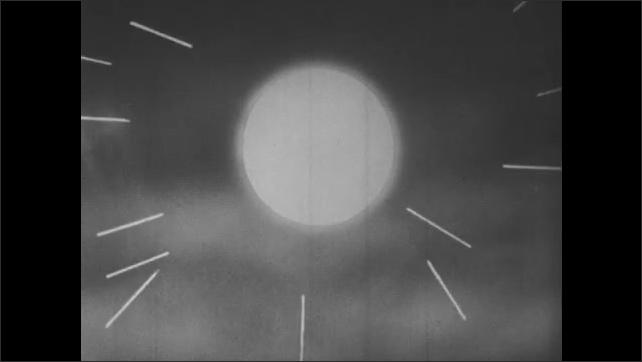 1950s: Sun behind clouds. Animation of the sun with lines streaking from it.