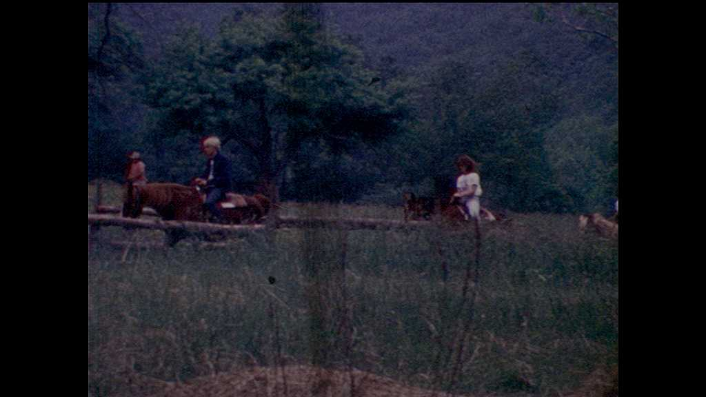 1970s: men and women ride horses on nature trail near wood fences, forest and mountains. woman feeds hay straw to cow in pen. boys race in potato sacks. boy watches tug of war. teen looks at plant.