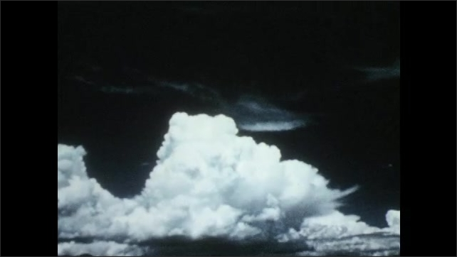 1950s: Large cloud forms in the sky.