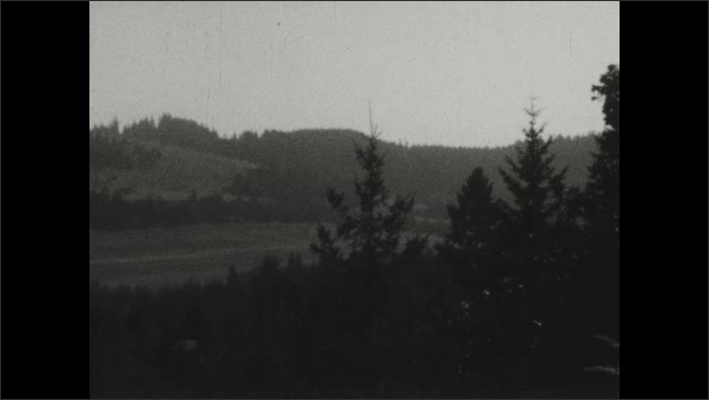 1930s: Trees, hills and grassy field.