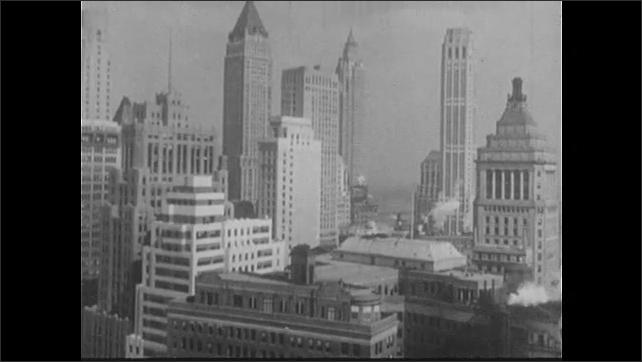 1940s: Stock exchange.  Busy street.  City.  Buildings.  People walk past.
