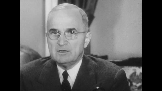 1950s: UNITED STATES: close up of president. President speaks to camera.