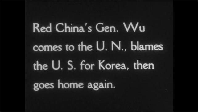 1950s: UNITED STATES: President Wilson speaks to President Truman. Title credit. Communist Minister arrives at meeting in dark