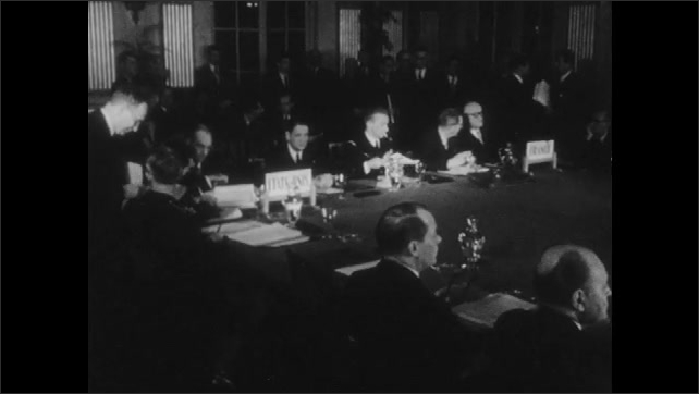 1950s: UNITED STATES: US Secretary and foreign ministers meet together. Atlantic Pact meeting