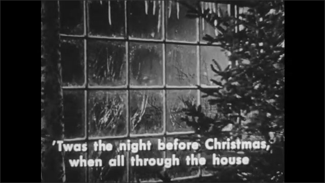 """1940s: Snowy forest.  House.  Window.  Living room.  Mouse.  Caption read """"T'was the night before Christmas, when all through the house, Not a creature was stirring, not even a mouse."""""""
