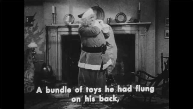 1940s: Living room.  Santa retrieves sack and begins taking out gifts.  Captions.