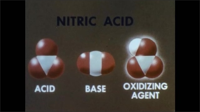 """1960s: Animation.  Text reads """"NITRIC ACID.""""  Molecules change.  Labels read """"ACID,"""" """"BASE,"""" AND """"OXIDIZING AGENT.""""  Man opens vat and turns wheel."""