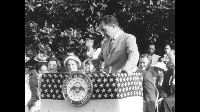Nixon Talks Seriously to Crowd at Election Campaign