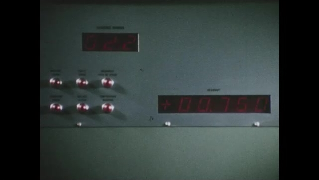 1960s: Hand turns dial. Screen reflects reading