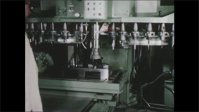 1960s: Tools rotate on machine. Tool descends on object.