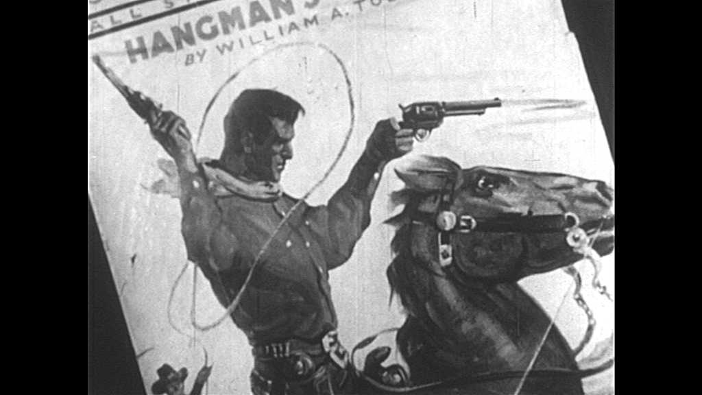1930s: Magazine cover with cowboy on horse, with guns and lasso. Man speaks and points gun at bank robbers.