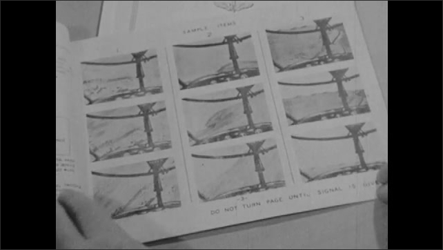 1960s: Test shows various instrument readings with different plane angles. Stick and rudder orientation booklet opens. Pencil points to pictures in booklet and fills in answers on test sheet.